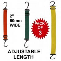 "SET 3  EXTRA WIDE 50mm 2"" ADJUSTABLE BUNGEE CORDS FLAT ELASTIC HEAVY DUTY HOOK"